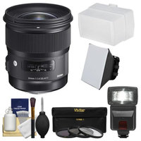 Sigma 24mm f/1.4 Art DG HSM Lens (for Canon EOS Cameras) with Flash + Soft Box & Diffuser + 3 UV/CPL/ND8 Filters + Kit + SIGMA USA Warranty