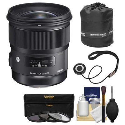Sigma 24mm f/1.4 Art DG HSM Lens (for Nikon Cameras) with Pouch + 3 UV/CPL/ND8 Filters + Kit