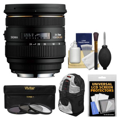 Sigma 24-70mm f/2.8 IF EX DG HSM Zoom Lens (for Canon EOS Cameras) with Case + 3 UV/CPL/ND8 Filters + Kit