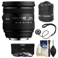 Sigma 24-70mm f/2.8 IF EX DG HSM Zoom Lens (for Nikon Cameras) with Lens Pouch + 3 UV/CPL/ND8 Filters + Kit