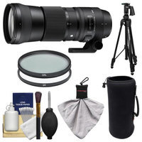 Sigma 150-600mm f/5.0-6.3 Contemporary DG OS HSM Zoom Lens (for Nikon Cameras) with Pistol Grip Tripod + UV & CPL Filters + Pouch + Kit