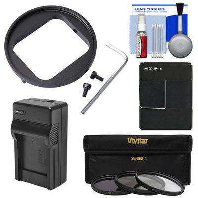 Vivitar 52mm Filter Adapter for GoPro HERO3/ HERO3+/ HERO4 with AHDBT-301 Battery + Charger + 3 UV/CPL/ND8 Filters + Cleaning Kit