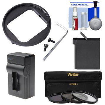 Vivitar 52mm Filter Adapter for GoPro HERO3/ HERO3+/ HERO4 with AHDBT-401 Battery + Charger + 3 UV/CPL/ND8 Filters + Cleaning Kit