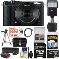 Nikon 1 J5 Wi-Fi Digital Camera & 10-30mm Lens (Black) with 64GB Card + Sling Strap + Case + Tripod + Flash + Kit with NIKON USA Warranty