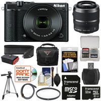 Nikon 1 J5 Wi-Fi Digital Camera & 10-30mm Lens (Black) with 30-110mm VR Lens + 32GB Card + Sling Strap + Case + Tripod + Filter + Kit + NIKON USA Warranty