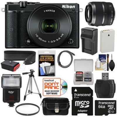Nikon 1 J5 Wi-Fi Digital Camera & 10-30mm Lens (Black) with 30-110mm VR Zoom Lens + 64GB Card + Battery + Charger + Strap + Case + Tripod + Flash + Filter Kit with NIKON USA Warranty