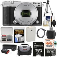 Nikon 1 J5 Wi-Fi Digital Camera & 10-30mm Lens (Silver) with 32GB Card + Sling Strap + Case + Tripod + Kit + NIKON USA Warranty