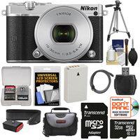 Nikon 1 J5 Wi-Fi Digital Camera & 10-30mm Lens (Silver) with 32GB Card + Sling Strap + Case + Tripod + Kit + NIKON USA Warranty
