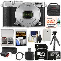 Nikon 1 J5 Wi-Fi Digital Camera & 10-30mm Lens (Silver) with 32GB Card + Joby Strap + Case + Flex Tripod + HDMI Cable + Kit + NIKON USA Warranty