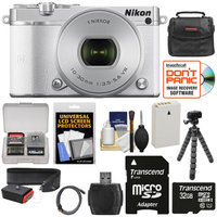 Nikon 1 J5 Wi-Fi Digital Camera & 10-30mm Lens (White) with 32GB Card + Joby Strap + Case + Flex Tripod + HDMI Cable + Kit + NIKON USA Warranty