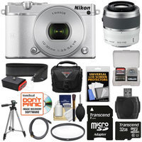 Nikon 1 J5 Wi-Fi Digital Camera & 10-30mm Lens (White) with 30-110mm VR Lens + 32GB Card + Sling Strap + Case + Tripod + Filter + Kit + NIKON USA Warranty