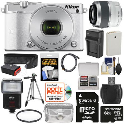 Nikon 1 J5 Wi-Fi Digital Camera & 10-30mm Lens (White) with 30-110mm VR Zoom Lens + 64GB Card + Sling Strap + Case + Tripod + Flash + Filter Kit + NIKON USA Warranty