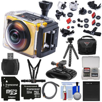 Kodak PixPro SP360 Wi-Fi HD Video Action Camera Camcorder - Extreme Pack with Chest Strap + Wrist Mounts + 64GBs + Battery + Case + Flex Tripod + Kit