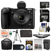 Nikon 1 V3 Digital Camera with 10-30mm PD Lens, Viewfinder & Grip with 32GB Card + Case + Battery + Charger + Tripod + Remote + Strap + Kit + NIKON USA Warranty