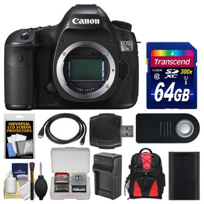 Canon EOS 5DS R Digital SLR Camera Body with 64GB Card + Backpack + Battery & Charger + Remote + Kit with CANON USA Warranty