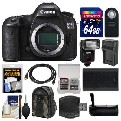 Canon EOS 5DS R Digital SLR Camera Body with 64GB Card + Backpack + Flash + Battery & Charger + Grip + Remote + Kit with CANON USA Warranty