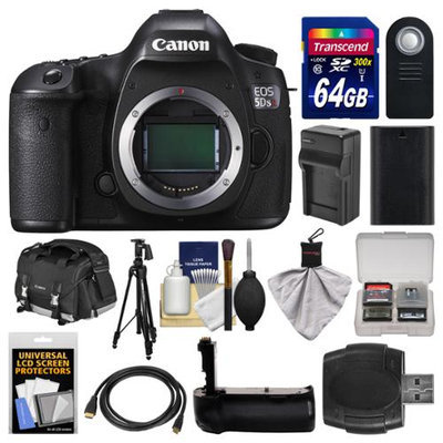 Canon EOS 5DS R Digital SLR Camera Body with 64GB Card + Case + Battery & Charger + Grip + Tripod + Remote + Kit with CANON USA Warranty