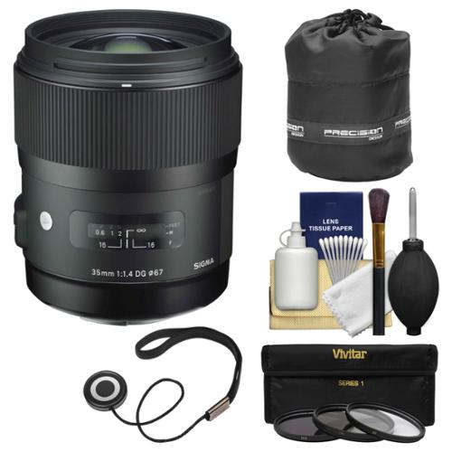 Sigma 35mm f/1.4 Art DG HSM Lens (for Canon EOS Cameras) with Pouch + 3 UV/CPL/ND8 Filters + Kit
