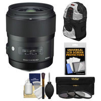 Sigma 35mm f/1.4 Art DG HSM Lens (for Nikon Cameras) with Sling Backpack + 3 UV/CPL/ND8 Filters + Kit