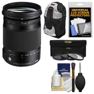Sigma 18-300mm f/3.5-6.3 Contemporary DC Macro OS HSM Zoom Lens (for Canon EOS Cameras) with Sling Backpack + 3 UV/CPL/ND8 Filters + Kit