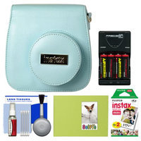 Fujifilm Groovy Camera Case for Instax Mini 8 (Blue) with 20 Twin Prints + Album + (4) Batteries & Charger + Accessory Kit