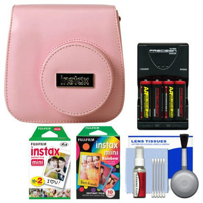 Fujifilm Groovy Camera Case for Instax Mini 8 (Pink) with 20 Twin & 10 Rainbow Prints + (4) Batteries & Charger + Accessory Kit