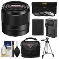 Sony Alpha E-Mount FE 28mm f/2 Lens with 3 UV/CPL/ND8 Filters + Battery & Charger + Case + Tripod + Kit