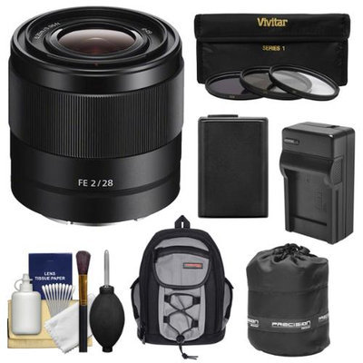 Sony Alpha E-Mount FE 28mm f/2 Lens with 3 UV/CPL/ND8 Filters + Battery & Charger + Backpack + Pouch + Kit