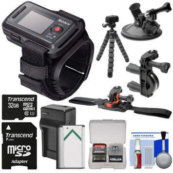 Sony RM-LVR2 Live View Wireless Wristband Remote for Action Camera + 32GB Card + Handlebar Helmet & Suction Cup Mounts + NP-BX1 Battery/Charger + Tripod Kit