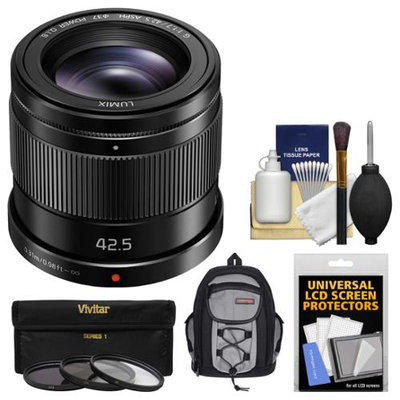 Panasonic Lumix G 42.5mm f/1.7 Power OIS Lens with Backpack + 3 UV/CPL/ND8 Filters + Kit for G6, G7, GF7, GH3, GH4, GM1, GM5, GX7, GX8 Camera with PANASONIC USA Warranty