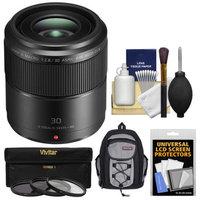 Panasonic Lumix G 30mm f/2.8 MEGA OIS Macro Lens with Backpack + 3 UV/CPL/ND8 Filters + Kit