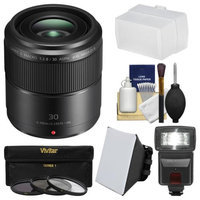 Panasonic Lumix G 30mm f/2.8 MEGA OIS Macro Lens with Flash + Soft Box + Bounce Diffuser + 3 UV/CPL/ND8 Filters + Accessory Kit