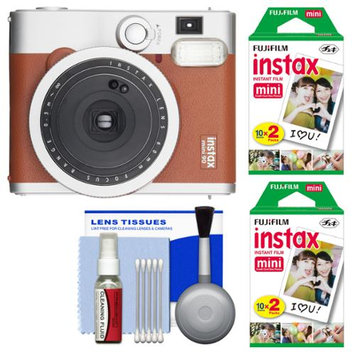 Fujifilm Instax Mini 90 Neo Classic Instant Film Camera (Brown) with 40 Instant Film + Cleaning Kit