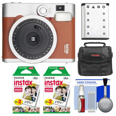 Fujifilm Instax Mini 90 Neo Classic Instant Film Camera (Brown) with 40 Instant Film + Case + Battery + Cleaning Kit
