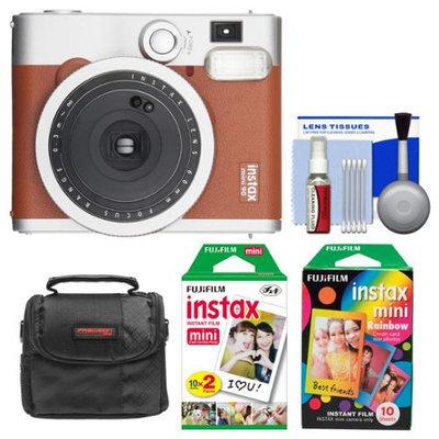 Fujifilm Instax Mini 90 Neo Classic Instant Film Camera (Brown) with Instant & Rainbow Film Packs + Case + Kit
