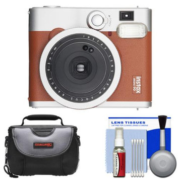 Fujifilm Instax Mini 90 Neo Classic Instant Film Camera (Brown) with Case + Cleaning Kit