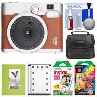 Fujifilm Instax Mini 90 Neo Classic Instant Film Camera (Brown) with 20 Twin Prints & 10 Rainbow Prints + Case + Battery + Photo Album Kit