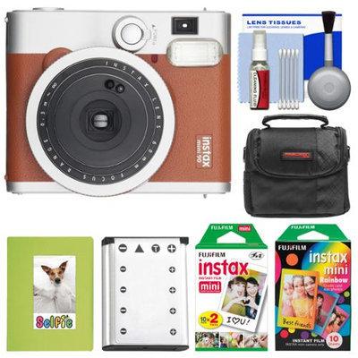 Fujifilm Instax Mini 90 Neo Classic Instant Film Camera (Brown) with 20 Twin Prints & 10 Rainbow Prints + Case + Battery + Photo Album Kit