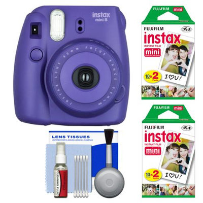 Fujifilm Instax Mini 8 Instant Film Camera (Grape) with 40 Instant Film + Cleaning Kit