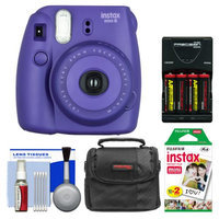 Fujifilm Instax Mini 8 Instant Film Camera (Grape) with 20 Instant Film + Case + (4) Batteries & Charger + Kit
