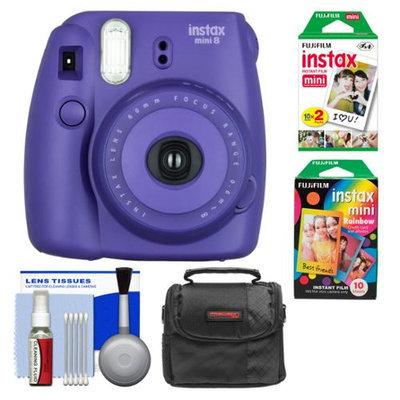 Fujifilm Instax Mini 8 Instant Film Camera (Grape) with Instant Film & Rainbow Film + Case + Cleaning Kit