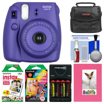 Fujifilm Instax Mini 8 Instant Film Camera (Grape) with Photo Album + Instant Film & Rainbow Film + Case + Batteries & Charger Kit