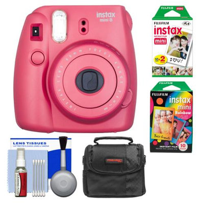 Fujifilm Instax Mini 8 Instant Film Camera (Raspberry) with Instant Film & Rainbow Film + Case + Cleaning Kit