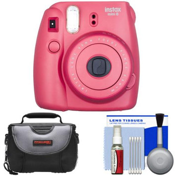 Fujifilm Instax Mini 8 Instant Film Camera (Raspberry) with Case + Cleaning Kit