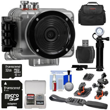 Intova Nova HD Waterproof Sports Video Camera Camcorder with 32GB Card + 2 Helmet & Flat Surface Mounts + LED Video Light + Case + Accessory Kit