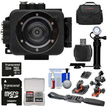 Intova Edge X Waterproof Sports HD Video Camera Camcorder with 32GB Card + 2 Helmet & Flat Surface Mounts + LED Video Light + Case + Accessory Kit
