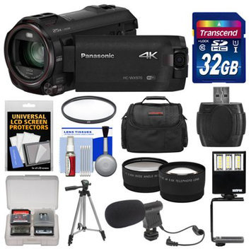 Panasonic HC-WX970 4K Ultra HD Wi-Fi Video Camera Camcorder with 32GB Card + Case + LED Light + Microphone + Tripod + Filter + Tele/Wide Lens Kit