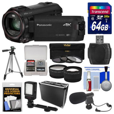 Panasonic HC-WX970 4K Ultra HD Wi-Fi Video Camera Camcorder with 64GB Card + Case + LED Light + Microphone + Tripod + Filters + Tele/Wide Lens Kit