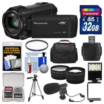 Panasonic HC-VX870 4K Ultra HD Wi-Fi Video Camera Camcorder with 32GB Card + Case + LED Light + Microphone + Tripod + Filter + Tele/Wide Lens Kit