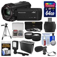 Panasonic HC-VX870 4K Ultra HD Wi-Fi Video Camera Camcorder with 64GB Card + Hard Case + LED Light + Microphone + Tripod + Tele/Wide Lens Kit